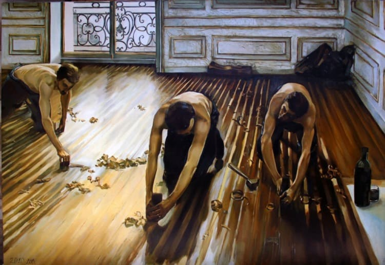 Гюстав Кайботт. «Паркетчики I». 1875 г. Масло, холст. 102 x 146 см. Musée d'Orsay, Paris, France.