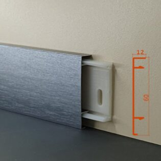 Плінус алюмінієвий декоративний анодирований браширований Dark Grey Brush (ADGB) 60х12х2500 мм
