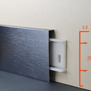 Плінус алюмінієвий декоративний анодирований браширований Dark Grey Brush (ADGB) 78х12х2500 мм